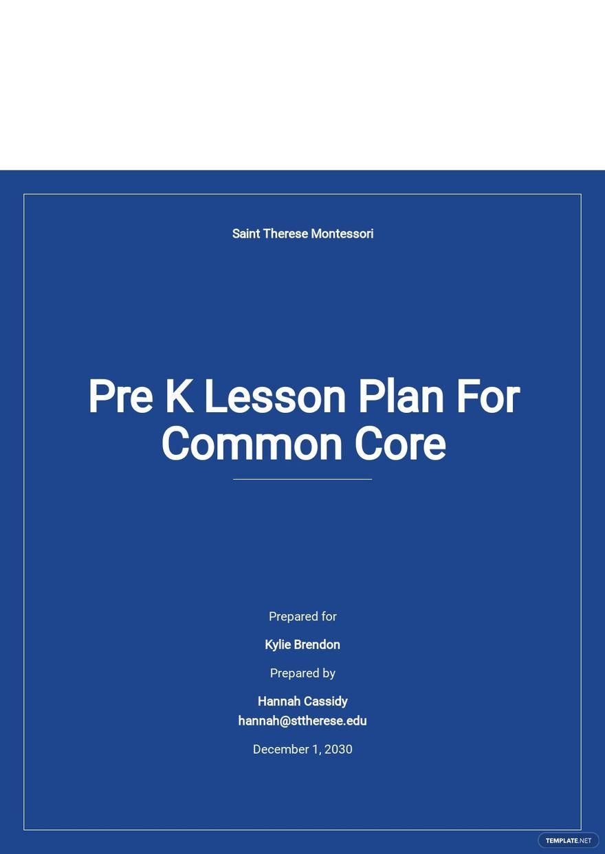 Pre K Lesson Plan Template For Common Core.jpe