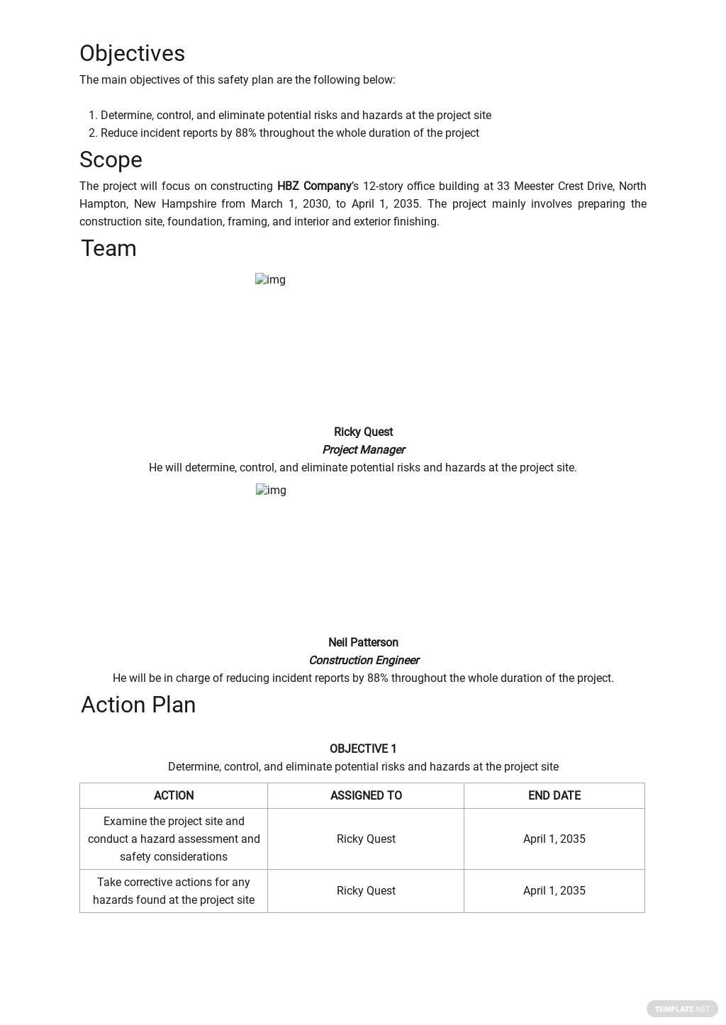 Construction Project Site Specific Safety Plan Template 1.jpe