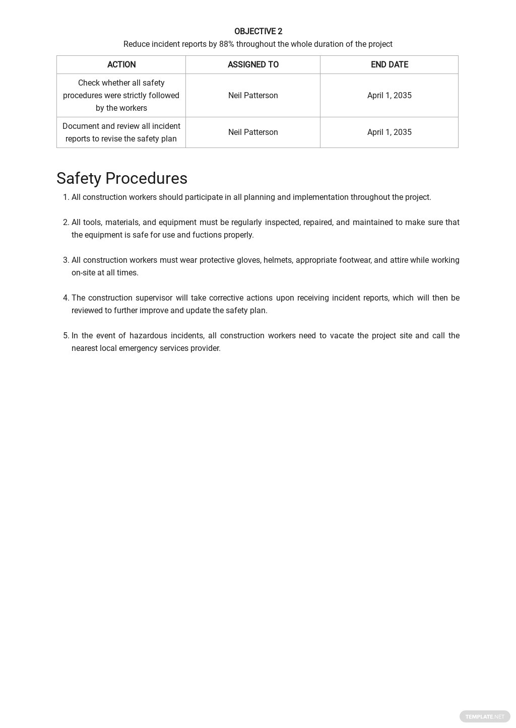 Construction Project Site Specific Safety Plan Template 2.jpe