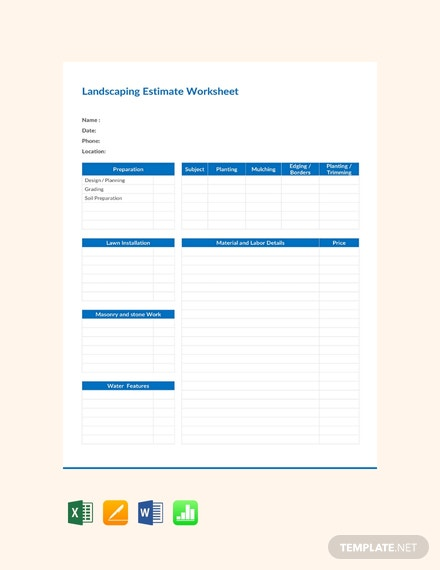 Free Landscape Estimate Worksheet Template