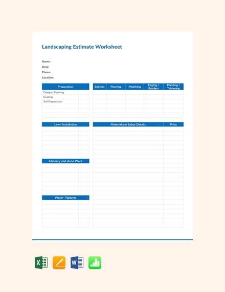 Free Landscape Estimate Worksheet Template