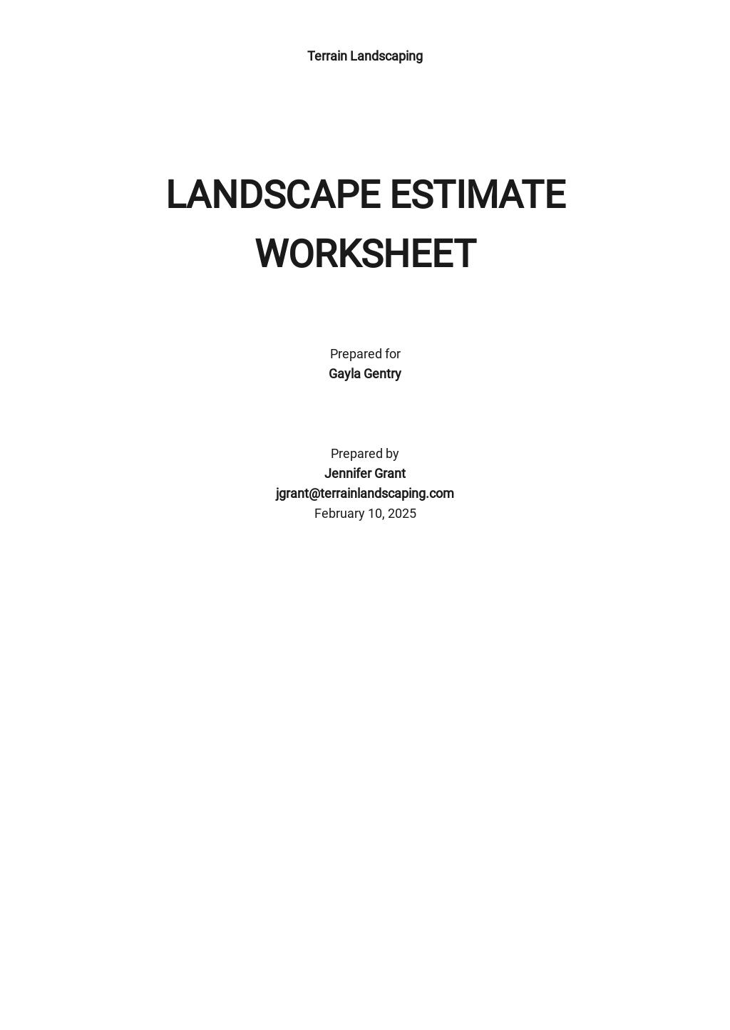 Landscape Estimate Worksheet Template