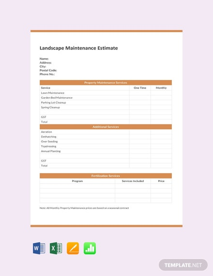 Free Landscape Maintenance Estimate Template