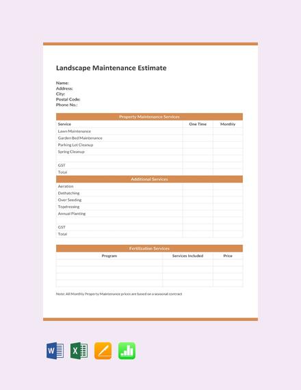 Free Landscape Maintenance Estimate Template