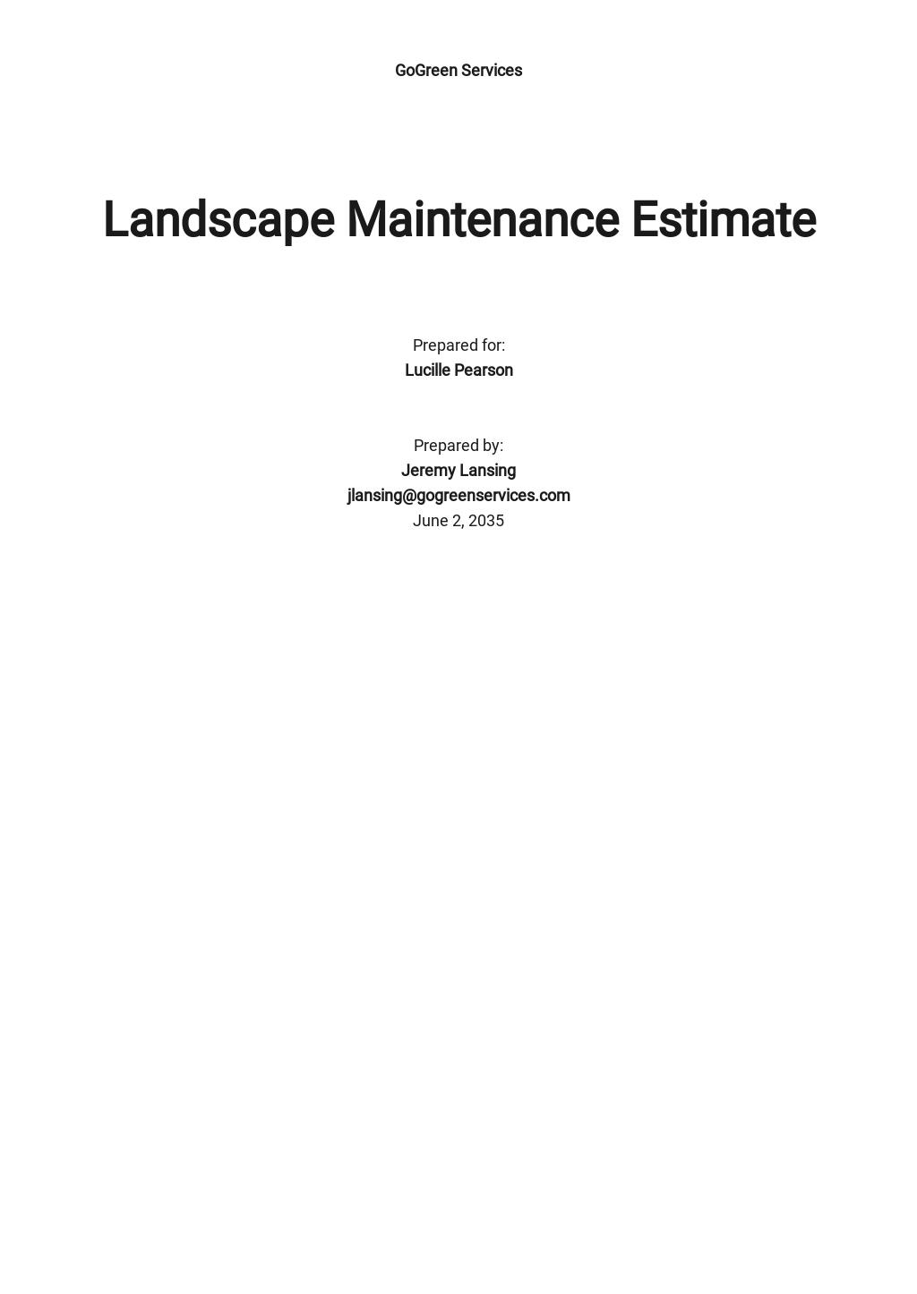 Landscape Maintenance Estimate Template