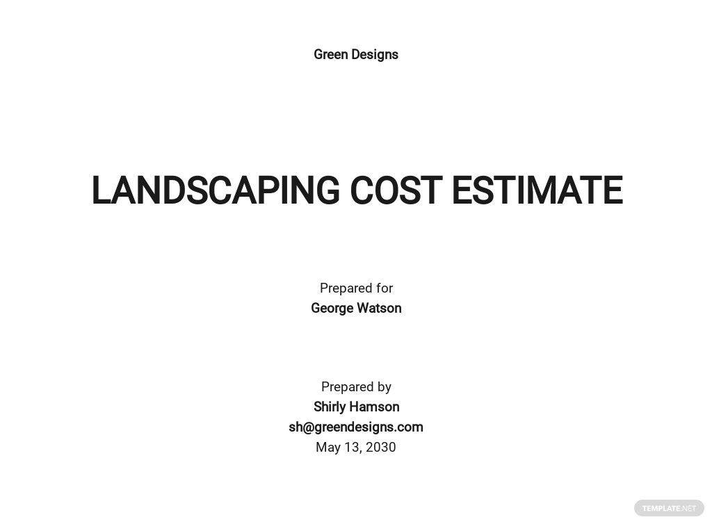 Free Landscaping Cost Estimate Template