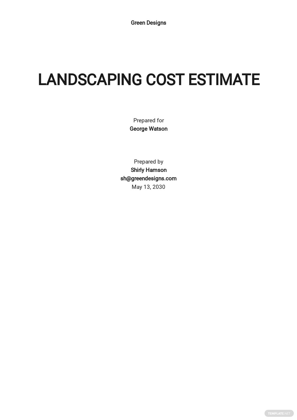 Landscaping Cost Estimate Template