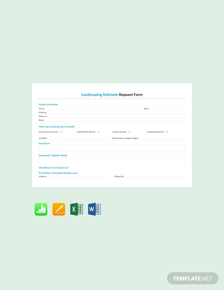 Free Landscaping Estimate Request Form Template