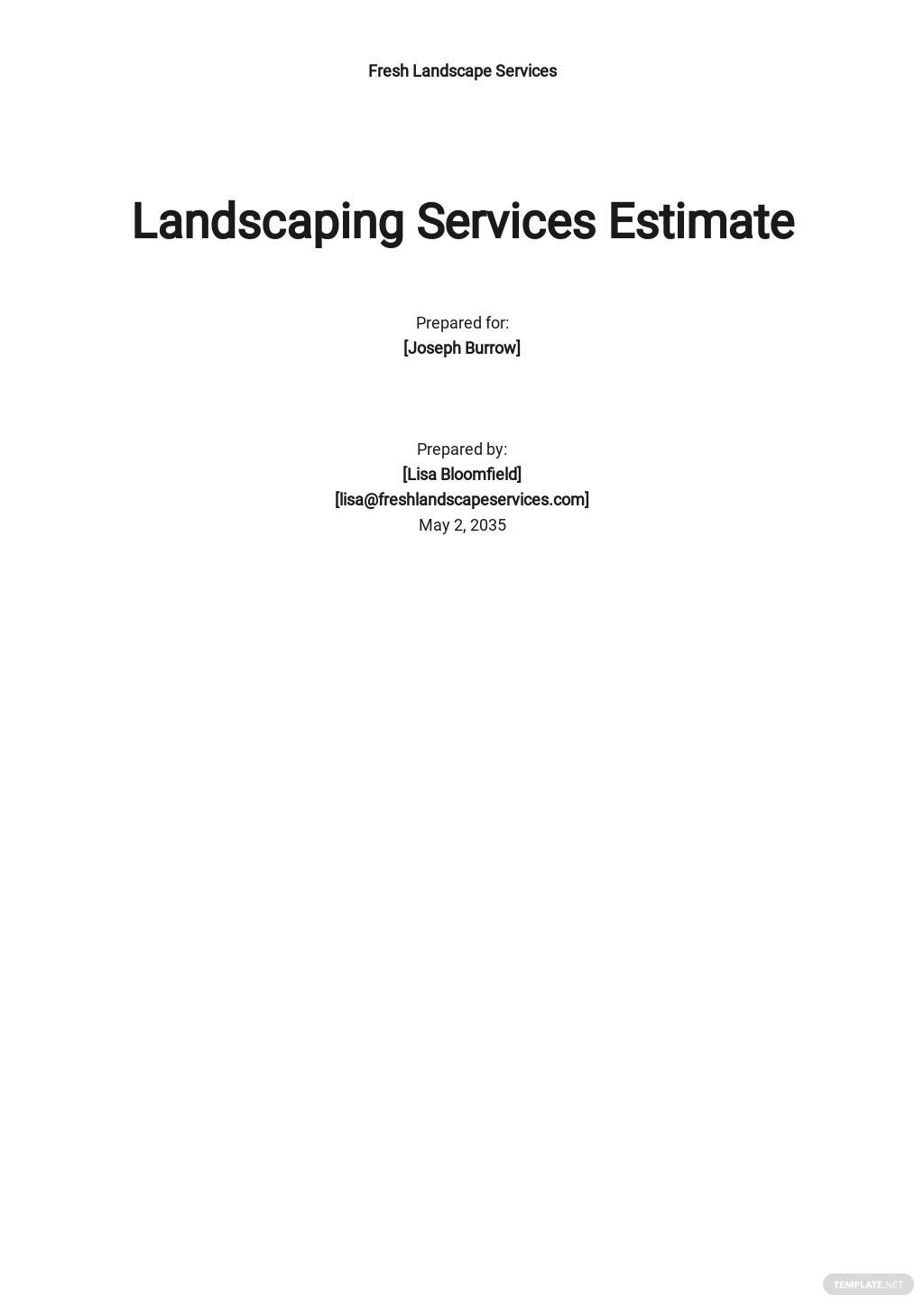 Landscaping Services Estimate Template