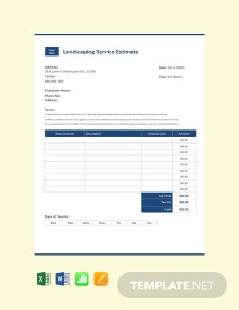fFree Landscaping Business Estimate Template