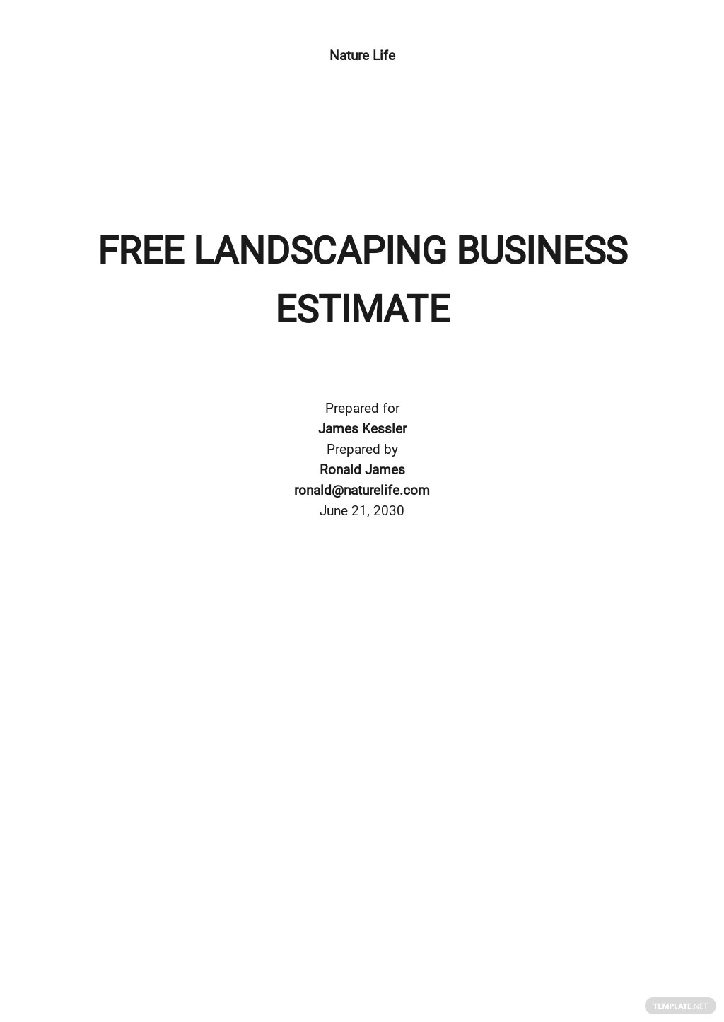 Landscaping Business Estimate Template