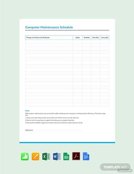 Free Computer Maintenance Schedule Template