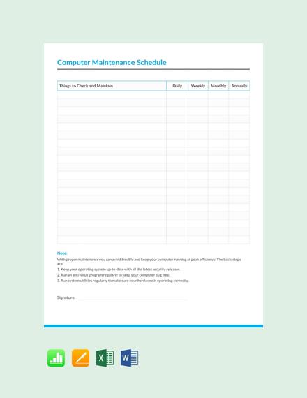 Free Computer Maintenance Schedule Template