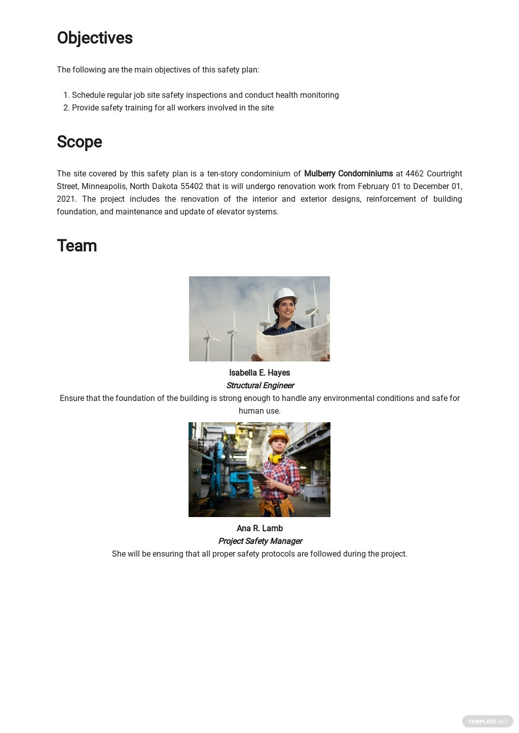 Blank Site Specific Safety Plan Template 1.jpe