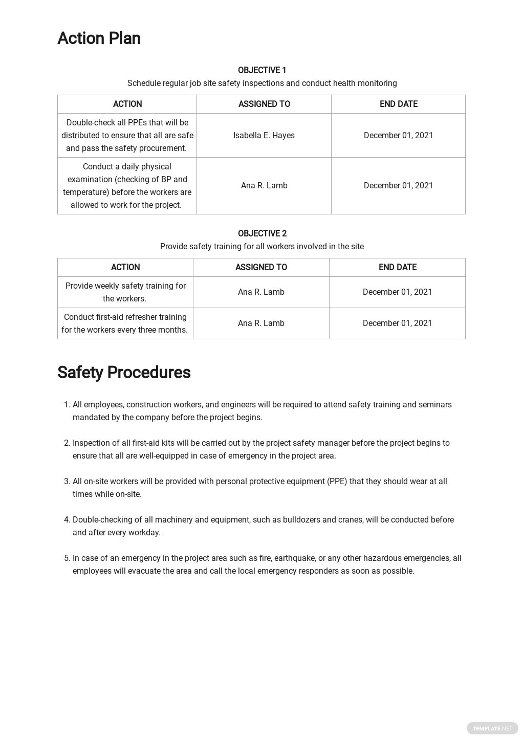Blank Site Specific Safety Plan Template 2.jpe