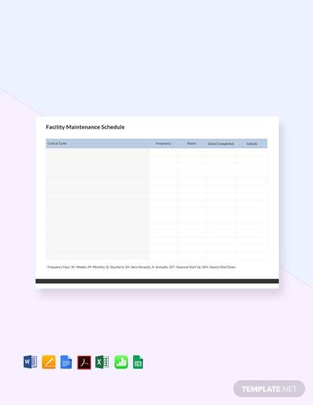 Free Facility Maintenance Schedule Template
