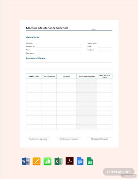 Free Machine Maintenance Schedule Template