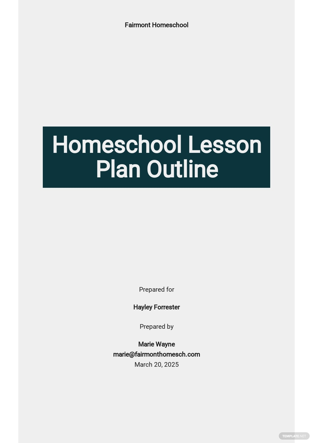 Homeschool Lesson Plan Outline Template