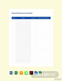 Free Planned Maintenance Schedule Template