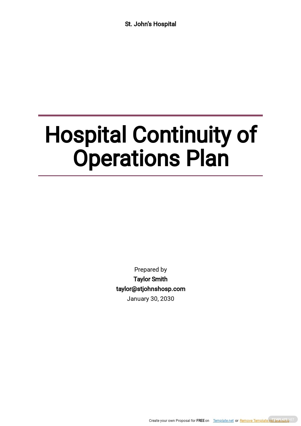 Hospital Continuity of Operations Plan Template.jpe
