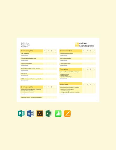 Free School Report Card Template