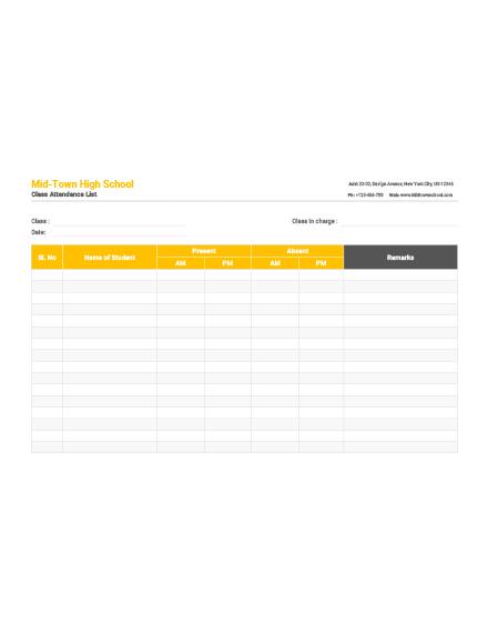 Class Attendance List Template