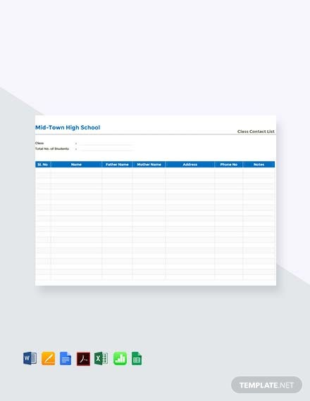 Free Class Contact List Template