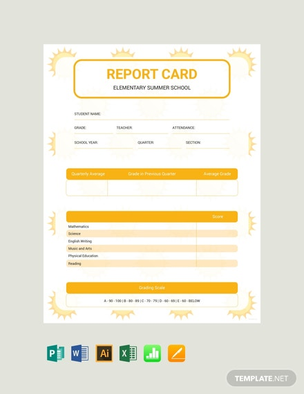 Free Summer Report Card Template
