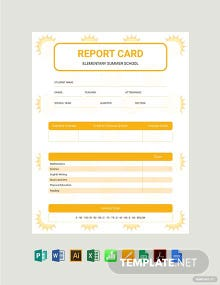 Summer Report Card Template