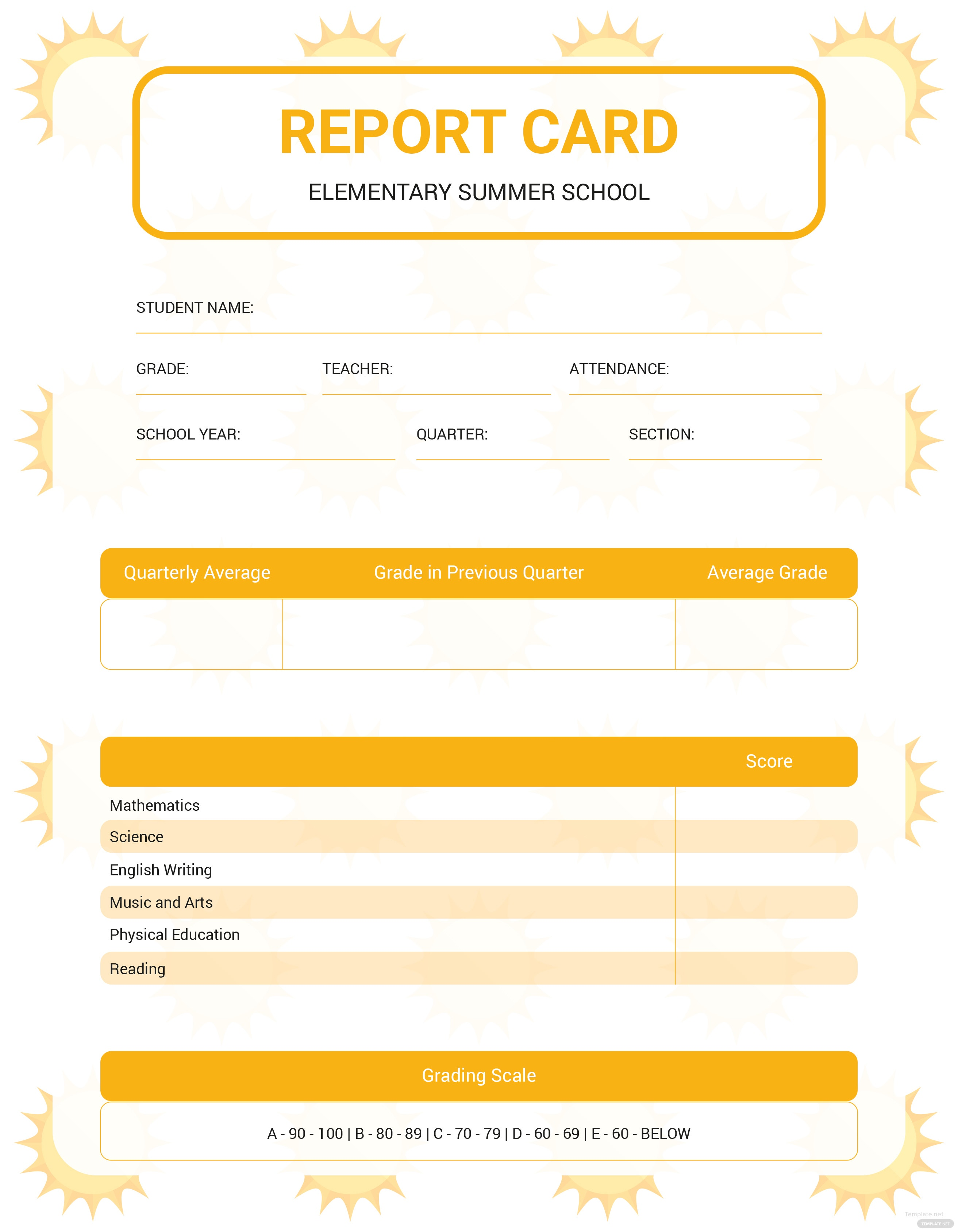 Free summer report card template in adobe illustrator for Summer school progress report template