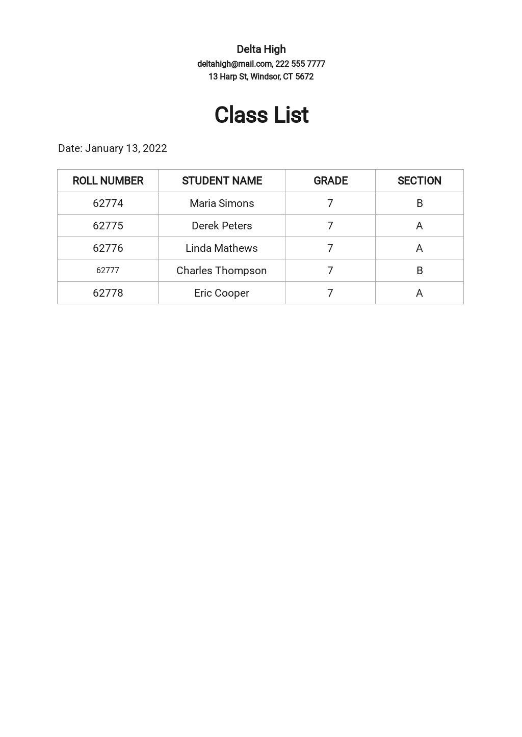 Simple Class List Template.jpe