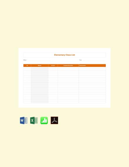 Free Elementary Class List Template