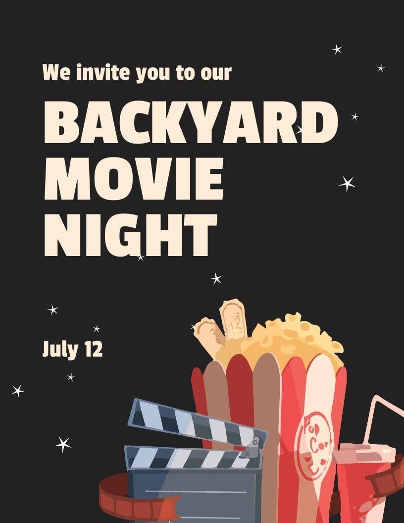 Movie Night Invitation Flyer Template