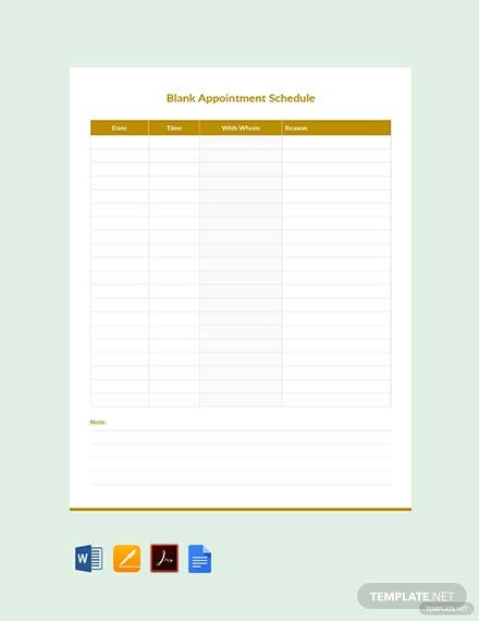 Free Blank Appointment Schedule Template