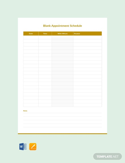 free blank appointment schedule template in microsoft word apple