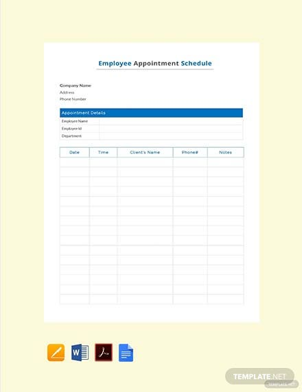 Employee Appointment Schedule Template