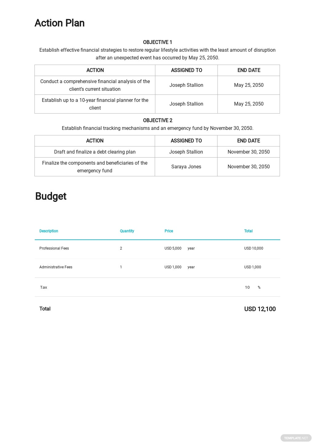 Personal Financial Contingency Plan Template 2.jpe