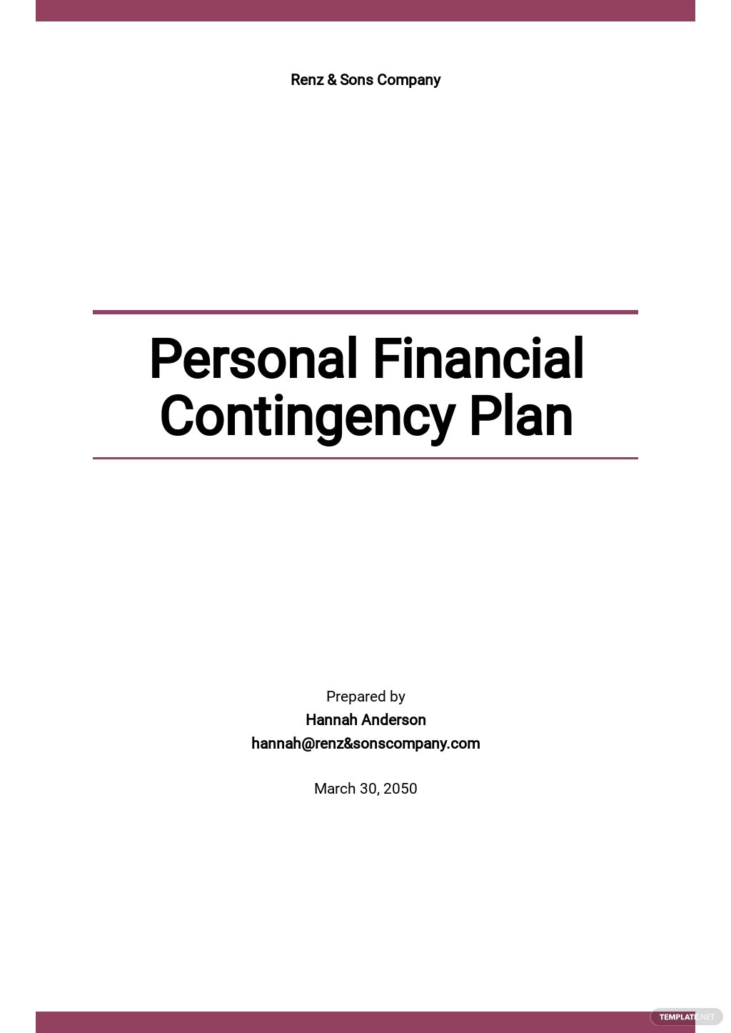 Personal Financial Contingency Plan Template.jpe