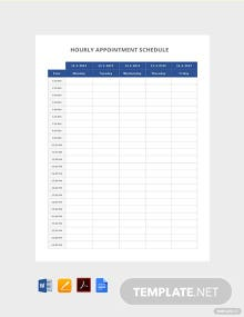 Free Hourly Appointment Schedule Template