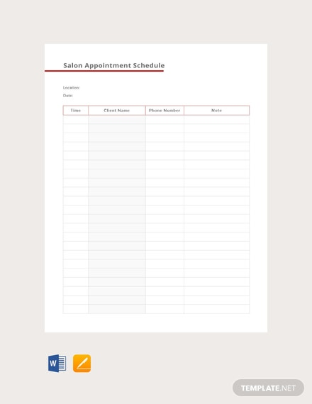 Free Salon Appointment Schedule Template