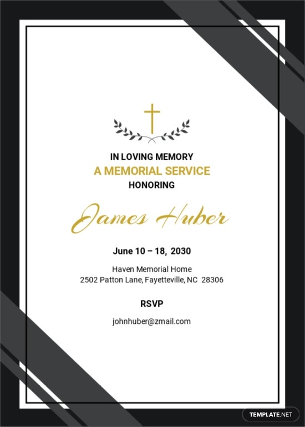 Funeral Memorial Reception Invitation Template.jpe
