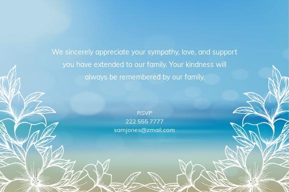 Beach Sympathy Thank You Memorial Card Template 1.jpe