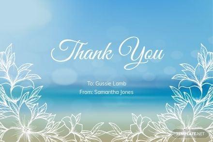 Beach Sympathy Thank You Memorial Card Template.jpe