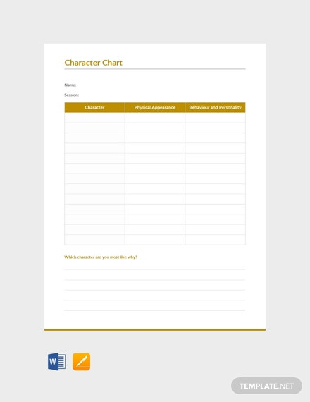 Free Character Chart Template In Microsoft Word Apple Apple Pages