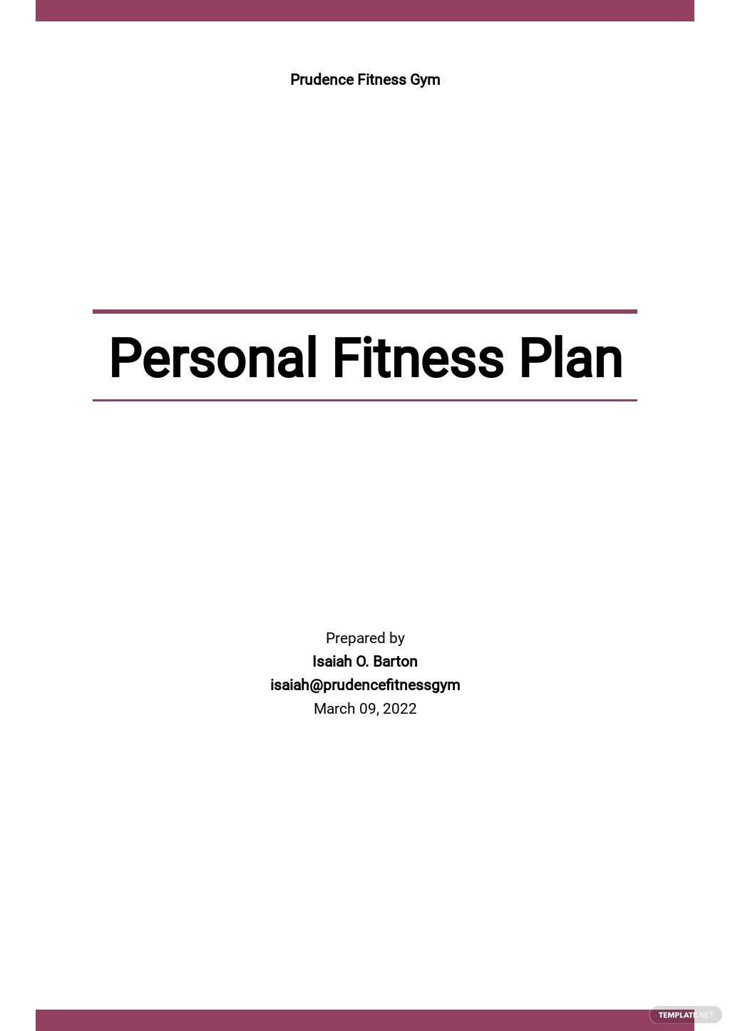 Personal Fitness Plan Template
