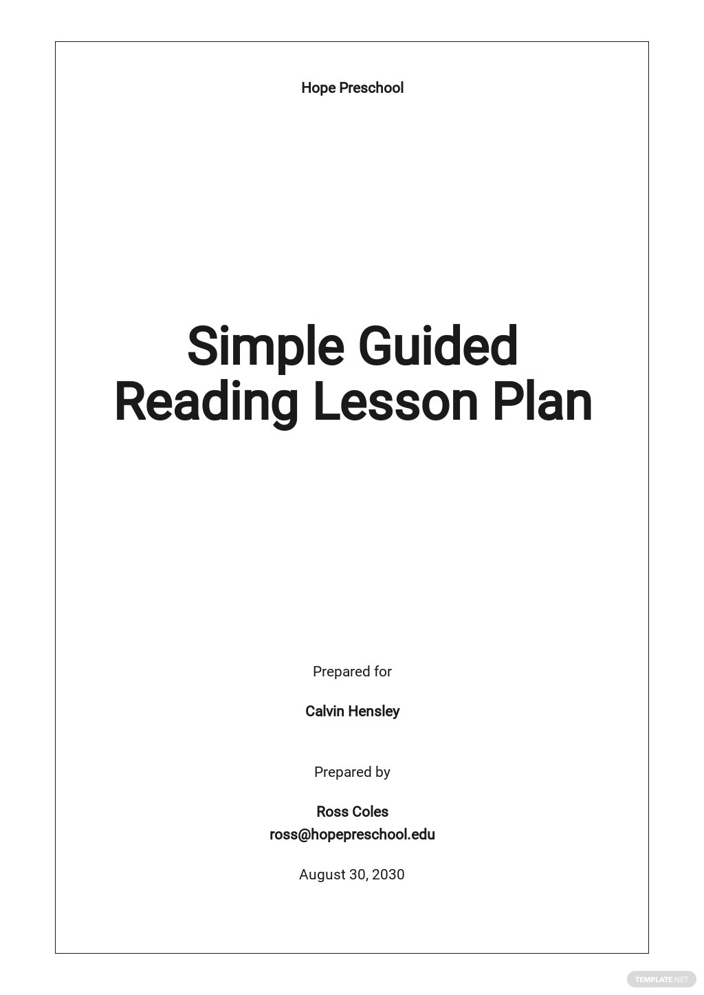 Simple Guided Reading Lesson Plan Template.jpe