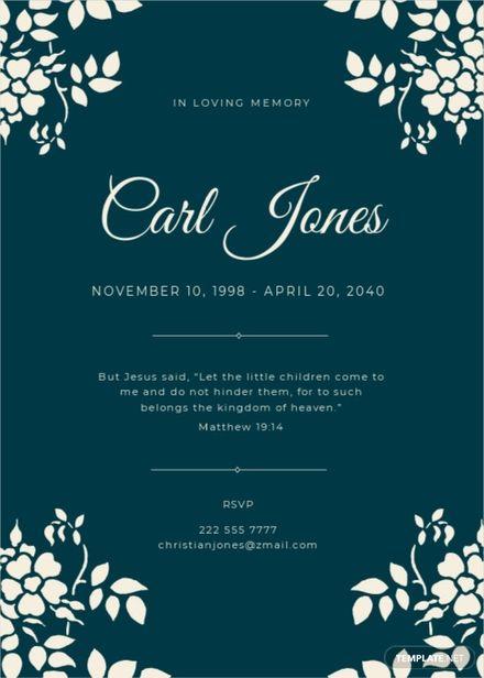 Sympathy Funeral Memorial Card Template.jpe