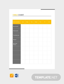 Free Table Chart Template