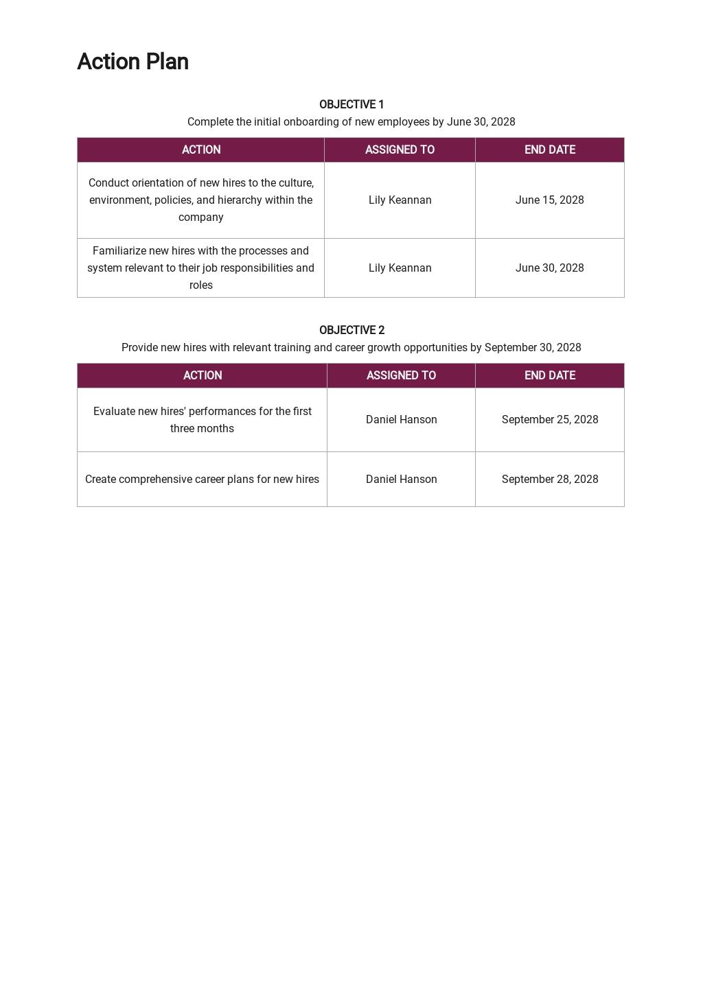 Sample Employee Action Plan Template 2.jpe