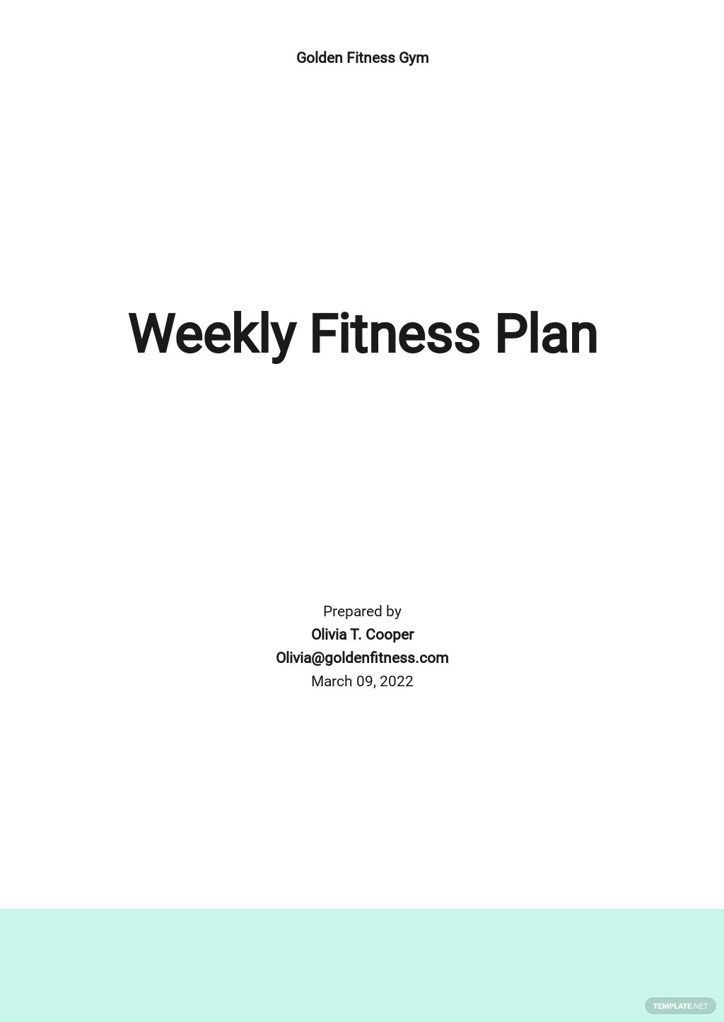 Weekly Fitness Plan Template
